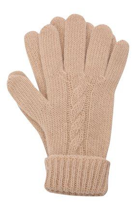 Детские шерстяные перчатки IL GUFO бежевого цвета, арт. A21GS039EM220/2A-4A   Фото 1 (Материал: Шерсть)
