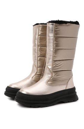 Детские кожаные сапоги MISSOURI бежевого цвета, арт. 92014/27-30   Фото 1 (Материал внешний: Текстиль; Материал утеплителя: Натуральный мех)