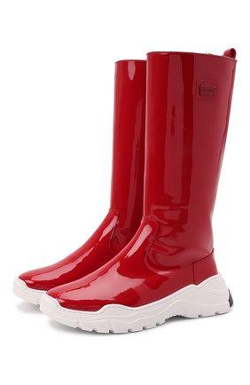 Детские кожаные сапоги DOLCE & GABBANA красного цвета, арт. D11067/A0554/29-36 | Фото 1 (Материал утеплителя: Натуральный мех)