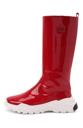 Детские кожаные сапоги DOLCE & GABBANA красного цвета, арт. D11067/A0554/29-36 | Фото 2 (Материал утеплителя: Натуральный мех)