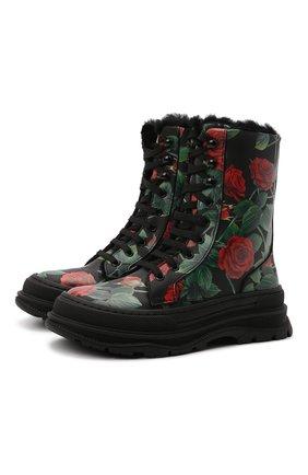 Детские кожаные ботинки DOLCE & GABBANA разноцветного цвета, арт. D11057/AQ415/29-36   Фото 1 (Материал утеплителя: Натуральный мех)