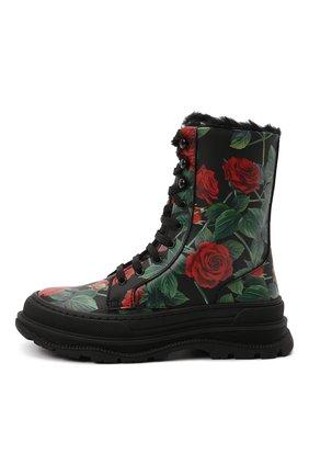 Детские кожаные ботинки DOLCE & GABBANA разноцветного цвета, арт. D11057/AQ415/29-36   Фото 2 (Материал утеплителя: Натуральный мех)