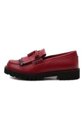 Детские кожаные лоферы DOLCE & GABBANA красного цвета, арт. D11044/A7924/29-36 | Фото 2 (Материал внутренний: Натуральная кожа)