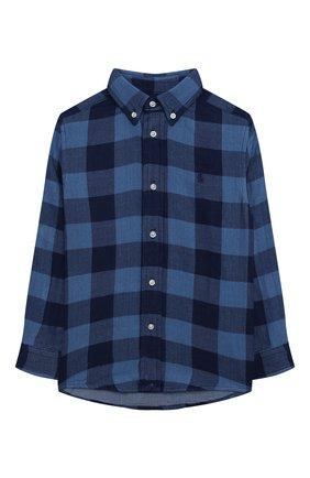 Детская хлопковая рубашка POLO RALPH LAUREN синего цвета, арт. 321850936 | Фото 1 (Рукава: Длинные; Материал внешний: Хлопок; Случай: Повседневный; Ростовка одежда: 18 мес | 86 см, 3 года | 98 см, 4 года | 104 см)