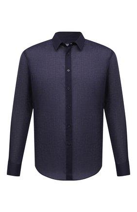 Мужская хлопковая рубашка VILEBREQUIN темно-синего цвета, арт. CCAP501P/390 | Фото 1 (Длина (для топов): Стандартные; Рукава: Длинные; Материал внешний: Хлопок; Случай: Повседневный; Воротник: Кент; Принт: Однотонные; Манжеты: На пуговицах; Стили: Кэжуэл)