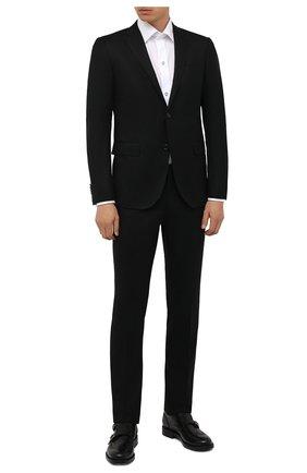 Мужской шерстяной костюм CORNELIANI черного цвета, арт. 887230-1818111/92 Q1 | Фото 1 (Материал внешний: Шерсть; Материал подклада: Купро; Стили: Классический; 1-2-бортные: Однобортные; Рукава: Длинные)