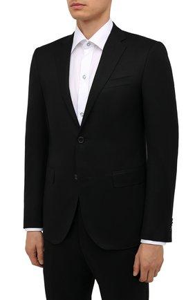 Мужской шерстяной костюм CORNELIANI черного цвета, арт. 887230-1818111/92 Q1 | Фото 2 (Материал внешний: Шерсть; Материал подклада: Купро; Стили: Классический; 1-2-бортные: Однобортные; Рукава: Длинные)