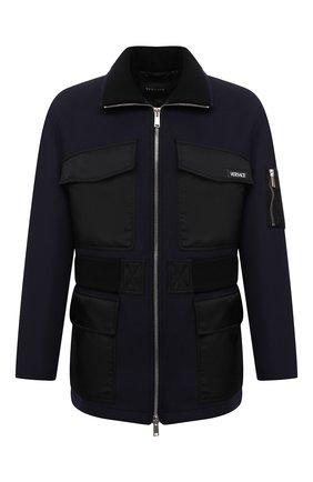 Мужская шерстяная куртка VERSACE темно-синего цвета, арт. 1001150/1A00678   Фото 1 (Материал внешний: Шерсть; Длина (верхняя одежда): Короткие; Материал подклада: Купро; Рукава: Длинные; Кросс-КТ: Куртка; Мужское Кросс-КТ: шерсть и кашемир; Стили: Кэжуэл)