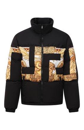 Мужская пуховая куртка VERSACE черного цвета, арт. 1001035/1A00707 | Фото 1 (Материал утеплителя: Пух и перо; Материал внешний: Синтетический материал; Длина (верхняя одежда): Короткие; Материал подклада: Синтетический материал; Рукава: Длинные; Кросс-КТ: Куртка; Мужское Кросс-КТ: пуховик-короткий; Стили: Кэжуэл)