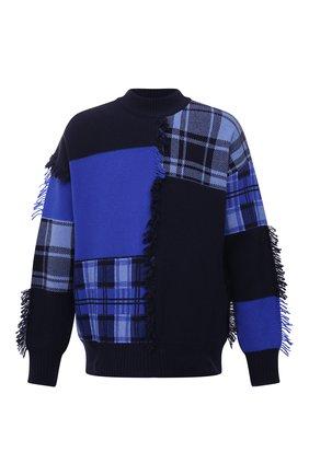 Мужской шерстяной свитер VERSACE темно-синего цвета, арт. 1001162/1A00791 | Фото 1 (Материал внешний: Шерсть; Длина (для топов): Стандартные; Рукава: Длинные; Мужское Кросс-КТ: Свитер-одежда; Стили: Гранж)