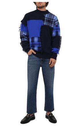 Мужской шерстяной свитер VERSACE темно-синего цвета, арт. 1001162/1A00791 | Фото 2 (Материал внешний: Шерсть; Длина (для топов): Стандартные; Рукава: Длинные; Мужское Кросс-КТ: Свитер-одежда; Стили: Гранж)