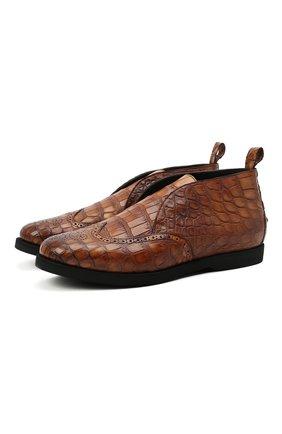 Мужские ботинки из кожи крокодила KITON светло-коричневого цвета, арт. USSINV0N00102/CNIL | Фото 1 (Материал внутренний: Натуральная кожа; Материал внешний: Экзотическая кожа; Подошва: Плоская; Мужское Кросс-КТ: Ботинки-обувь)