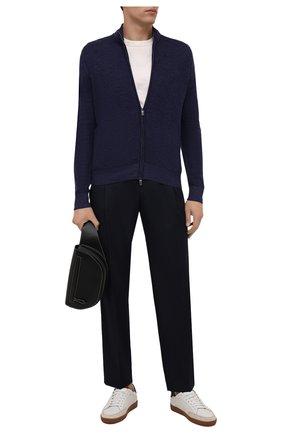 Мужской шерстяной кардиган CANALI синего цвета, арт. C0832/MK01270 | Фото 2 (Материал внешний: Шерсть; Мужское Кросс-КТ: Кардиган-одежда; Стили: Кэжуэл; Длина (для топов): Стандартные; Рукава: Длинные)