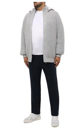 Мужские брюки CAPOBIANCO темно-синего цвета, арт. 11M706.SPR0./58-60   Фото 2 (Длина (брюки, джинсы): Стандартные; Материал внешний: Синтетический материал, Хлопок; Случай: Повседневный; Стили: Кэжуэл)