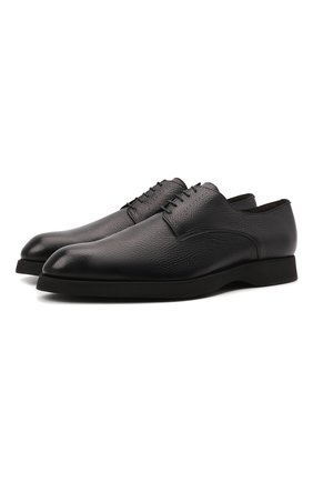 Мужские кожаные дерби BRIONI черного цвета, арт. QEH60L/09712 | Фото 1 (Материал утеплителя: Натуральный мех; Материал внутренний: Натуральная кожа; Стили: Классический)