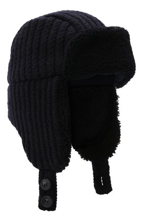 Мужская шерстяная шапка с меховой отделкой INVERNI темно-синего цвета, арт. 5368 CTM | Фото 1 (Материал: Шерсть)