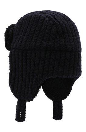 Мужская шерстяная шапка с меховой отделкой INVERNI темно-синего цвета, арт. 5368 CTM | Фото 2 (Материал: Шерсть)