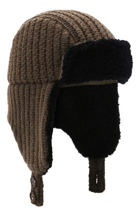 Мужская шерстяная шапка с меховой отделкой INVERNI хаки цвета, арт. 5368 CTM | Фото 1 (Материал: Шерсть)