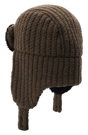 Мужская шерстяная шапка с меховой отделкой INVERNI хаки цвета, арт. 5368 CTM | Фото 2 (Материал: Шерсть)