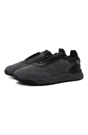 Мужские текстильные кроссовки SANTONI темно-серого цвета, арт. MBI021601ANENMGNG62 | Фото 1 (Подошва: Массивная; Материал внешний: Текстиль; Материал внутренний: Натуральная кожа; Стили: Спорт)