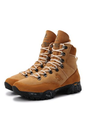 Женские замшевые ботинки PREMIATA светло-коричневого цвета, арт. MIDTRECD/VAR221   Фото 1 (Материал утеплителя: Натуральный мех; Подошва: Платформа; Каблук высота: Низкий; Женское Кросс-КТ: Хайкеры-ботинки; Материал внешний: Замша)