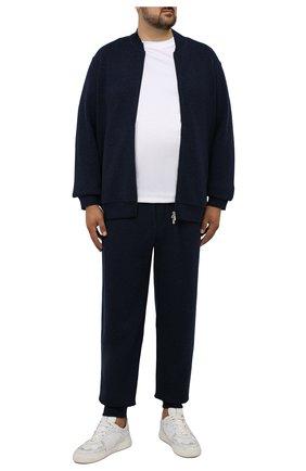 Мужской кардиган из шерсти и кашемира BRUNELLO CUCINELLI темно-синего цвета, арт. MTU139072W | Фото 2 (Рукава: Длинные; Материал внешний: Шерсть; Длина (для топов): Удлиненные; Мужское Кросс-КТ: Кардиган-одежда; Стили: Кэжуэл)