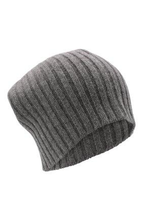 Мужская кашемировая шапка ALLUDE темно-серого цвета, арт. 215/60630 | Фото 1 (Материал: Шерсть, Кашемир; Кросс-КТ: Трикотаж)