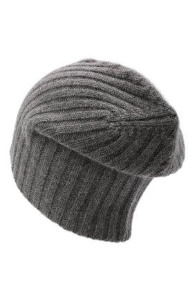 Мужская кашемировая шапка ALLUDE темно-серого цвета, арт. 215/60630 | Фото 2 (Материал: Шерсть, Кашемир; Кросс-КТ: Трикотаж)