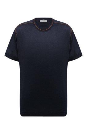 Мужская хлопковая футболка CORTIGIANI темно-синего цвета, арт. 216602/0000/60-70 | Фото 1 (Рукава: Короткие; Материал внешний: Хлопок; Длина (для топов): Удлиненные; Стили: Кэжуэл; Принт: Без принта)