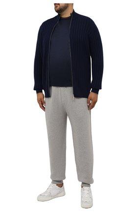 Мужская хлопковая футболка CORTIGIANI темно-синего цвета, арт. 216602/0000/60-70 | Фото 2 (Рукава: Короткие; Материал внешний: Хлопок; Длина (для топов): Удлиненные; Стили: Кэжуэл; Принт: Без принта)
