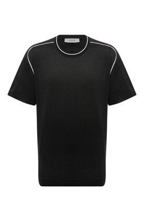 Мужская хлопковая футболка CORTIGIANI черного цвета, арт. 216602/0000/60-70 | Фото 1 (Материал внешний: Хлопок; Длина (для топов): Удлиненные; Рукава: Короткие; Стили: Кэжуэл; Принт: Без принта)