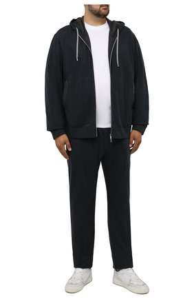 Мужские брюки из хлопка и кашемира CORTIGIANI темно-серого цвета, арт. 214601/0000/60-70 | Фото 2 (Длина (брюки, джинсы): Стандартные; Материал внешний: Хлопок; Случай: Повседневный; Кросс-КТ: Спорт; Стили: Спорт-шик, Кэжуэл; Мужское Кросс-КТ: Брюки-трикотаж)