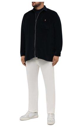 Мужская хлопковая рубашка POLO RALPH LAUREN темно-синего цвета, арт. 711849852/PRL BS | Фото 2 (Материал внешний: Хлопок; Рукава: Длинные; Длина (для топов): Стандартные; Случай: Повседневный; Воротник: Кент; Принт: Однотонные; Манжеты: На пуговицах; Стили: Кэжуэл)
