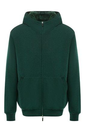 Мужской кашемировый бомбер с меховой подкладкой SVEVO зеленого цвета, арт. 0159XSA21/MP01/2 | Фото 1 (Материал внешний: Шерсть, Кашемир; Рукава: Длинные; Длина (верхняя одежда): Короткие; Кросс-КТ: Куртка; Принт: Без принта; Мужское Кросс-КТ: шерсть и кашемир, утепленные куртки; Стили: Кэжуэл)