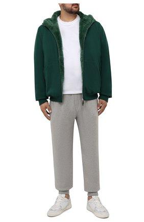 Мужской кашемировый бомбер с меховой подкладкой SVEVO зеленого цвета, арт. 0159XSA21/MP01/2 | Фото 2 (Материал внешний: Шерсть, Кашемир; Рукава: Длинные; Длина (верхняя одежда): Короткие; Кросс-КТ: Куртка; Принт: Без принта; Мужское Кросс-КТ: шерсть и кашемир, утепленные куртки; Стили: Кэжуэл)