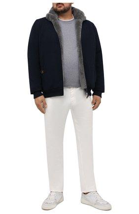 Мужской кашемировый бомбер с меховой подкладкой SVEVO темно-синего цвета, арт. 0140XSA21/MP01/2 | Фото 2 (Материал внешний: Шерсть, Кашемир; Рукава: Длинные; Длина (верхняя одежда): Короткие; Кросс-КТ: Куртка; Принт: Без принта; Мужское Кросс-КТ: шерсть и кашемир, утепленные куртки; Стили: Кэжуэл)