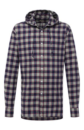 Мужская хлопковая рубашка SONRISA синего цвета, арт. ILS118F/F6114/47-51 | Фото 1 (Материал внешний: Хлопок; Длина (для топов): Стандартные; Рукава: Длинные; Случай: Повседневный; Воротник: С капюшоном; Принт: Клетка; Рубашки М: Regular Fit; Манжеты: На пуговицах; Стили: Кэжуэл)