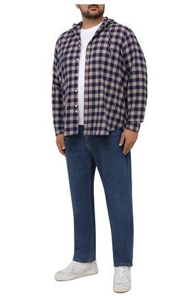 Мужская хлопковая рубашка SONRISA синего цвета, арт. ILS118F/F6114/47-51 | Фото 2 (Материал внешний: Хлопок; Длина (для топов): Стандартные; Рукава: Длинные; Случай: Повседневный; Воротник: С капюшоном; Принт: Клетка; Рубашки М: Regular Fit; Манжеты: На пуговицах; Стили: Кэжуэл)