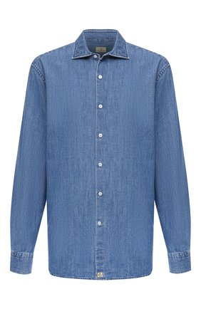 Мужская хлопковая рубашка SONRISA голубого цвета, арт. ILS118F/F6100/47-51 | Фото 1 (Длина (для топов): Стандартные; Материал внешний: Хлопок; Рукава: Длинные; Случай: Повседневный; Кросс-КТ: Деним; Воротник: Акула; Принт: Однотонные; Рубашки М: Classic Fit; Манжеты: На пуговицах; Стили: Кэжуэл)
