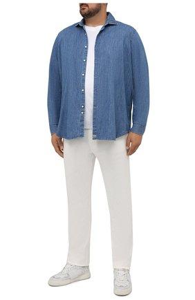 Мужская хлопковая рубашка SONRISA голубого цвета, арт. ILS118F/F6100/47-51 | Фото 2 (Длина (для топов): Стандартные; Материал внешний: Хлопок; Рукава: Длинные; Случай: Повседневный; Кросс-КТ: Деним; Воротник: Акула; Принт: Однотонные; Рубашки М: Classic Fit; Манжеты: На пуговицах; Стили: Кэжуэл)