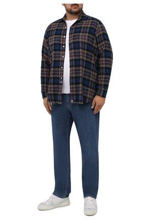 Мужская хлопковая рубашка SONRISA синего цвета, арт. IL7/FW6158/47-51 | Фото 2 (Длина (для топов): Стандартные; Материал внешний: Хлопок; Рукава: Длинные; Случай: Повседневный; Воротник: Акула; Принт: Клетка; Рубашки М: Regular Fit; Манжеты: На пуговицах; Стили: Кэжуэл)