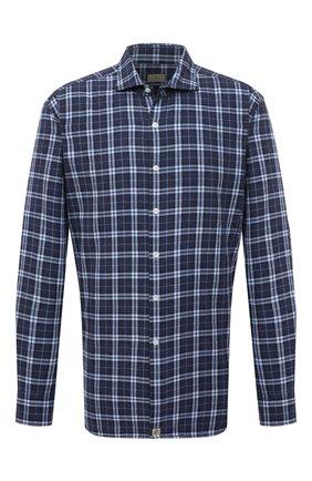 Мужская хлопковая рубашка SONRISA синего цвета, арт. IL7/F6113/47-51 | Фото 1 (Материал внешний: Хлопок; Рукава: Длинные; Длина (для топов): Стандартные; Случай: Повседневный; Воротник: Акула; Принт: Клетка; Рубашки М: Regular Fit; Манжеты: На пуговицах; Стили: Кэжуэл)