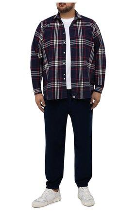 Мужская хлопковая рубашка SONRISA серого цвета, арт. IL7/F6112/47-51 | Фото 2 (Рукава: Длинные; Длина (для топов): Стандартные; Материал внешний: Хлопок; Случай: Повседневный; Воротник: Акула; Принт: Клетка; Рубашки М: Regular Fit; Манжеты: На пуговицах; Стили: Кэжуэл)