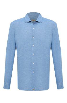 Мужская хлопковая рубашка SONRISA голубого цвета, арт. IL7/F6108/47-51 | Фото 1 (Рукава: Длинные; Длина (для топов): Стандартные; Материал внешний: Хлопок; Случай: Повседневный)