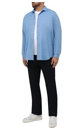 Мужская хлопковая рубашка SONRISA голубого цвета, арт. IL7/F6108/47-51 | Фото 2 (Рукава: Длинные; Длина (для топов): Стандартные; Материал внешний: Хлопок; Случай: Повседневный)