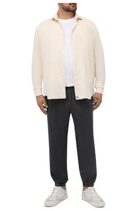 Мужская хлопковая рубашка SONRISA кремвого цвета, арт. IL7/F6108/47-51 | Фото 2 (Рукава: Длинные; Длина (для топов): Стандартные; Материал внешний: Хлопок; Случай: Повседневный; Воротник: Акула; Принт: Однотонные; Рубашки М: Regular Fit; Манжеты: На пуговицах; Стили: Кэжуэл)
