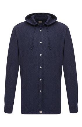 Мужская хлопковая рубашка SONRISA синего цвета, арт. IL7/DEN57/47-51 | Фото 1 (Длина (для топов): Стандартные; Рукава: Длинные; Материал внешний: Хлопок; Случай: Повседневный; Воротник: С капюшоном; Принт: Однотонные; Рубашки М: Regular Fit; Манжеты: На пуговицах; Стили: Кэжуэл)