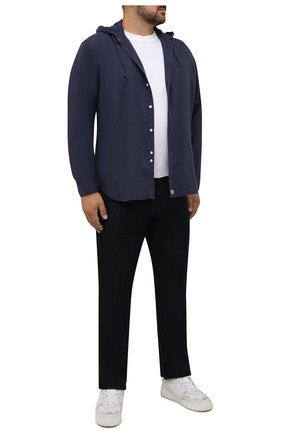 Мужская хлопковая рубашка SONRISA синего цвета, арт. IL7/DEN57/47-51 | Фото 2 (Длина (для топов): Стандартные; Рукава: Длинные; Материал внешний: Хлопок; Случай: Повседневный; Воротник: С капюшоном; Принт: Однотонные; Рубашки М: Regular Fit; Манжеты: На пуговицах; Стили: Кэжуэл)