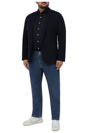 Мужская хлопковая рубашка SONRISA темно-синего цвета, арт. IFJ17/J133/47-51 | Фото 2 (Длина (для топов): Стандартные; Материал внешний: Хлопок; Рукава: Длинные; Случай: Повседневный; Воротник: Акула; Принт: Однотонные; Рубашки М: Classic Fit; Манжеты: На пуговицах; Стили: Кэжуэл)