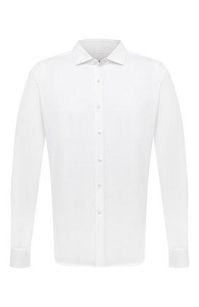Мужская хлопковая рубашка SONRISA белого цвета, арт. IFJ17/J133/47-51 | Фото 1 (Материал внешний: Хлопок; Длина (для топов): Стандартные; Рукава: Длинные; Случай: Повседневный; Воротник: Акула; Принт: Однотонные; Рубашки М: Classic Fit; Манжеты: На пуговицах; Стили: Кэжуэл)